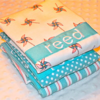 """SALE Personalized Burp Cloth Set - Baby Boy Flannel """"Children at Play"""" Aqua and Orange Pinwheels Stripes and Dots"""