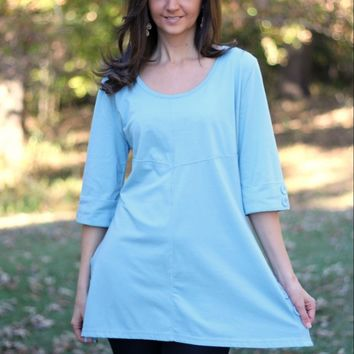 Simply Noelle Powder Blue Tunic with Button Embellishments