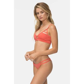 Jessi Cut Out Bralette Bikini Top - Coral Red