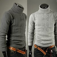 Turtle Neck Mens Fashion Cable Sweater