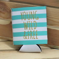 Young, Wild & Free Pocket Koozie {Aqua}