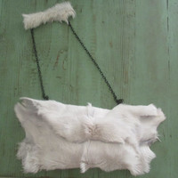 Goat Art, White Goat genuine leather Fur Leather Bag