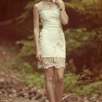 Short ivory lace dress