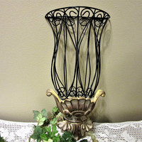 Wall Pocket Planter Metal Scrolling Home Decor Indoor Gardening blm