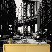 New York City Manhattan Bridge Street View Wall Decal. Iconic photo from Dumbo. #6144