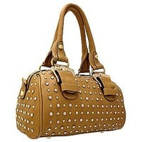 Gorgeous Buckles Bling Rhinestone & Stud Purse Top Handle Bag w/ Shoulder Strap Khaki