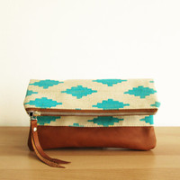 Tribal Clutch bag, Fold over clutch, Ikat, Canvas and leather clutch, Geometric, Aztec print, Turquoise