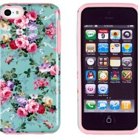 DandyCase 2in1 Hybrid High Impact Hard Vintage Sea Green Floral Pattern + Pink Silicone Case Cover For Apple iPhone 5C + DandyCase Screen Cleaner