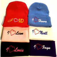 I  LOVE 1D one direction hat one size fits by winteriscoming2012