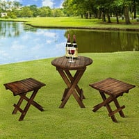 3 Piece Plank Style Mango Wood Outdoor Folding Portable Picnic Table Set, Rustic Brown By The Urban Port
