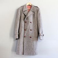Classic Irish Oatmeal Brown Tweed Pure Wool Long Coat Double Breasted Coat Vintage 70s Size M - L #O135A