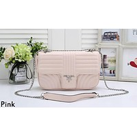 PRADA Diagramme Tide brand women's quilted chain shoulder messenger bag Pink