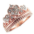 Rose Gold Triple Heart Crown Ring