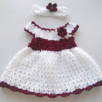 Baby Girl Coming Home Dress and Headband In White and Burgundy , Maroon Newborn Frock, Infant Outfit, Crochet Dress and Headband