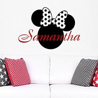 Wall Decal Girl Name Minnie Mouse Sticker Personalized Name Nursery Baby Kids Custom Name Vinyl Sticker Decals Bedroom Decor C583