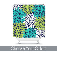Shower Curtain CUSTOM You Choose Colors Navy Blue Turquoise Lime Green Flower Burst Dahlia Pattern Bathroom Bath Polyester Made in the USA