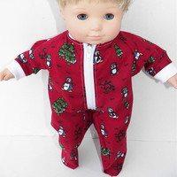 """Bitty Baby Clothes American Girl 15"""" Boy Red Burgundy Penguin Zip up Christmas Tree Pajamas"""