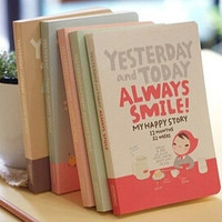 Korea Cute Red Hat Girl Diary Notebook Gift Kawaii Creative Student Paper Journal Notepads School Office Stationery Supplies