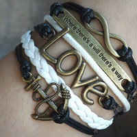 """Antique bronze""""where there's a will there's a way""""bracelet, anchor bracelet LOVE & unlimited bracelet,White leather braided bracelets J-46"""