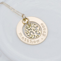 Hand Stamped Custom Necklace - 14K Gold Filled Personalized Jewelry - Gold Name Necklace with Birthstones