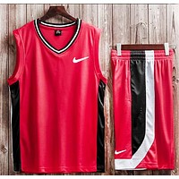 NIKE Summer New Fashion Hook Print Basketball Leisure Sports Vest Top And Shorts Two Piece Suit