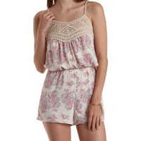 Ivory Combo Crochet-Trim Paisley Print Romper by Charlotte Russe