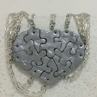Heart Puzzle Necklaces set of 10 Silver Polymer Clay