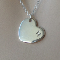 Full Heart Initial Pendant Necklace, Sterling silver, Monogram Heart pendant, Personalized, customized Christmas gift