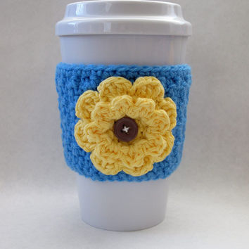 Crochet Flower Coffee Cup Cozy Blue and Yellow