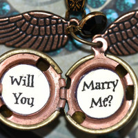 Harry Potter Golden Snitch Will You Marry Me Necklace Steampunk