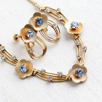 Vintage 12k Yellow Gold Filled Rhinestone Necklace & Earring Set - 1950s Baby Blue, Clear Stone Flower Jewelry Hallmarked Van Dell