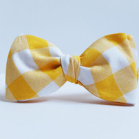 Bow Tie for Men by BartekDesign: self tie yellow white wedding grooms informal formal necktie gingham checked check
