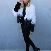 Two Tone Shaggy Faux Fur Coat | SPREDFASHION