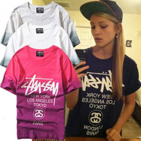 Stussy Fashion Edgy Tie Dye Gradient Color Letter Shirt Top Tee