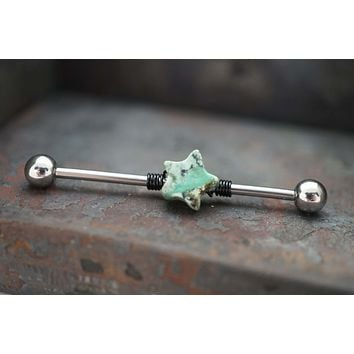 Turquoise Star Industrial Barbell