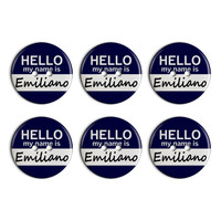 Emiliano Hello My Name Is Plastic Resin Button Set of 6