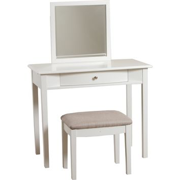 White Vanity Bench Neutral Leather Seat