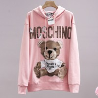 MOSCHINO fashion casual lady logo small bear printed hoodie hoodie