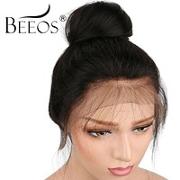 BEEOS Pre Plucked Full Lace Wig Human Hair Lace Wigs For Black Women Straight Brazilian Remy Hair With Baby Hair Bleached Knots
