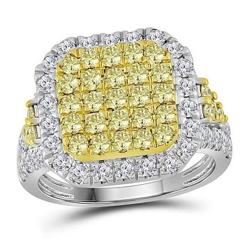 14kt White Gold Women's Round Natural Canary Yellow Diamond Square Cluster Ring 2-1/3 Cttw - FREE Shipping (US/CAN)