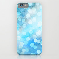 Turquoise Snowstorm - Abstract Watercolor Dots iPhone & iPod Case by Micklyn