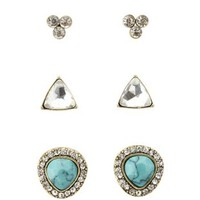 Gold Turquoise & Rhinestone Stud Earrings - 3 Pack by Charlotte Russe