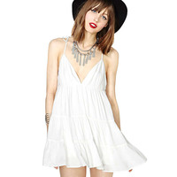White Deep V-Neck Sling Tie Racer Back Chiffon  Skater Dress