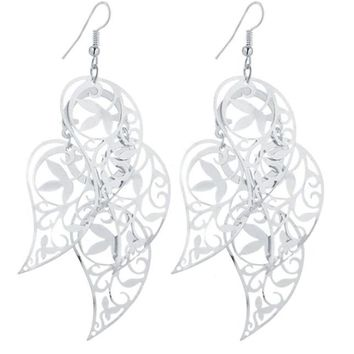 Dangling Tropical Leaves Earrings in Gold or Silver