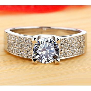 Engraved 1 Carat NSCD Diamond Pt Plated Silver Ring for Her