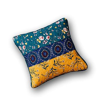 """DaDa Bedding Set of 2 Bohemian Patchwork Bed of Wild Flowers Floral Gardenia Throw Pillow Covers, 18"""" (JHW886)"""