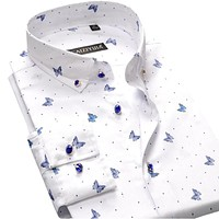 ELEGANT MEN BUTTON-UP BUTTERFLY PRINT DRESS SHIRTS