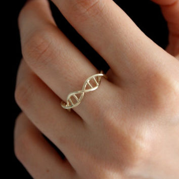 Gold DNA Ring - Science Jewelry - Silver Ring - 3D Printed DNA Ring - Wearable Science - Human Cell - Genetics Ring  - DNA
