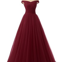 A-line Tulle Prom Formal Evening Homecoming Dress Ball Gown NND016