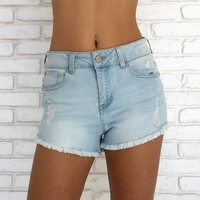Distressed & Blessed High Waist Shorts in Light Blue